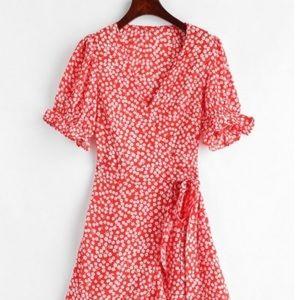 Zaful Red Floral Print Wrap Midi Dress